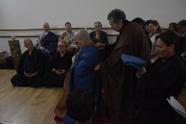 Dario Girolami receives his ceremonial robe at his Mountain Seat Ceremoney at the Centro Zen l'Arco in May, 2019