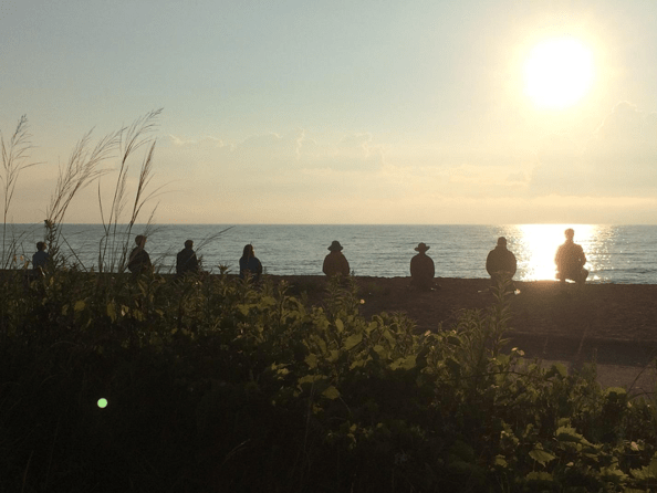 Zazen by the shore of Lake Michigan